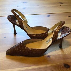 Manolo Blahnik Brown Carolyne Croc Formal Heels